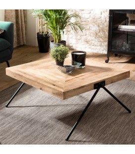 Table basse carrée bois de Manguier massif pieds métal compas ROMAO