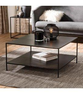 Table basse carrée métal industrielle double plateau ROMAO