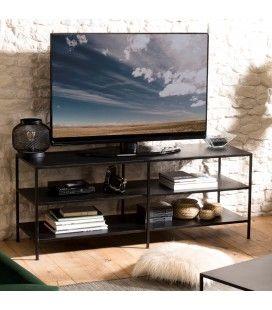 Meuble TV 2 étagères en métal noir ROMAO
