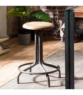 Tabouret rond réglable avec repose pieds bois massif et métal ROMAO