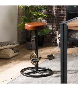 Tabouret de bar industriel cuir pieds métal déco pédales ROMAO