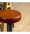 Tabouret industriel cuir hauteur ajustable pieds métal ROMAO