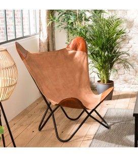 Chaise fauteuil butterfly pliable marron en toile et cuir ROMAO