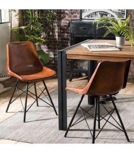 Lot de 2 chaises cuir marron métal noir ROMAO