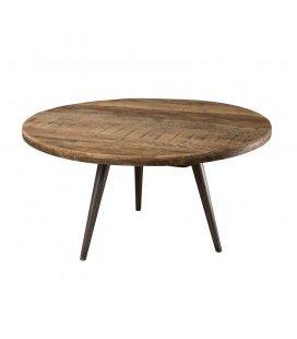 Table basse ronde bois massif teck D55cm H30cm pieds métal SULA