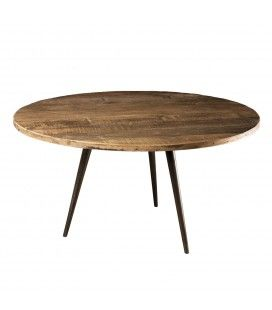 Table basse ronde bois massif teck D75cm H40cm pieds métal SULA