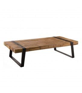 Table basse bois massif 140x70cm rectangle et pieds inclinés métal SULA