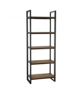 Etagère Recto-Verso 75x40x200cm 5 niveaux bois Teck recyclé et métal SULA