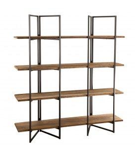 Etagère 4 niveaux bois massif et métal noir SULA