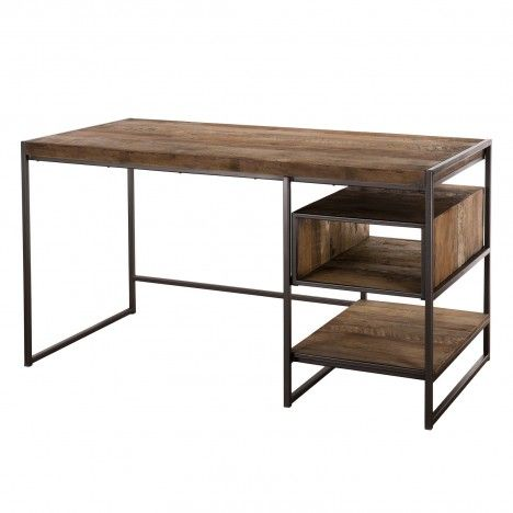 Bureau vintage bois massif et métal avec rangements intégrés SULA