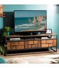 Meuble TV 3 tiroirs 1 étagère bois Teck recyclé et métal SULA