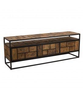 Meuble TV authentique bois massif 3 tiroirs 160cm et métal noir SULA