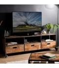 Meuble TV teck massif 3 tiroirs et tablette + 4 roulettes métal 175cm SULA