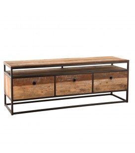 Meuble télé bois massif et métal avec 3 tiroirs et étagère SULA