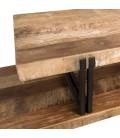 Meuble TV 2 niveaux bois Teck recyclé Acacia Mahogany et métal SULA