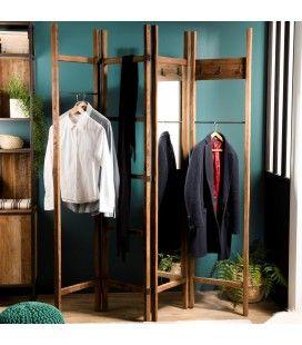 Portemanteau paravent en bois massif avec miroir 200cm SULA
