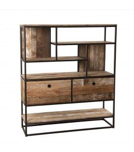 Buffet rangement 2 tiroirs et 7 étagères décalées bois massif et métal SULA