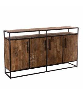 Buffet 4 portes 1 niche et 8 étagères bois massif et métal 180cm SULA