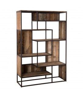 Grande bibliothèque style industriel bois massif et métal 180cm SULA