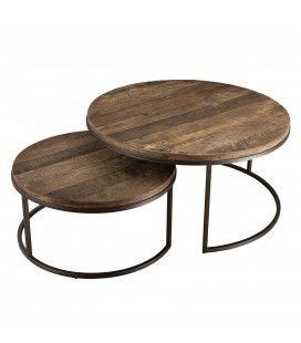 Set de 2 tables basses rondes teck massif bois brut et métal SULA