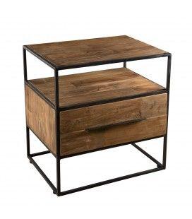 Chevet table de nuit bois massif et métal 1 tiroir 1 étagère SULA
