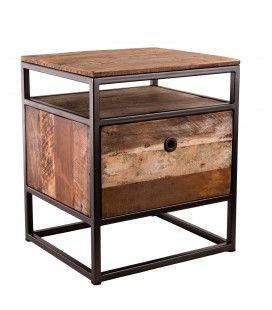 Table de nuit chevet bois massif et métal 1 tiroir SULA