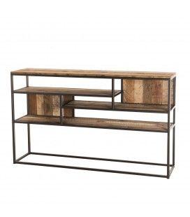 Console meuble déco 5 cases bois massif et métal 150cm SULA