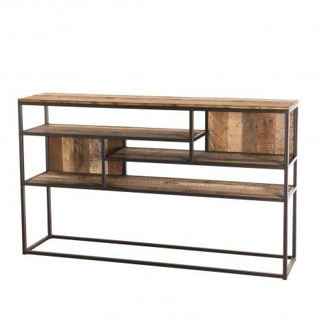 Console 4 niveaux Teck recyclé bois Acacia Mahogany et métal SULA