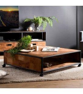 Table basse carrée à roulettes 1 étagère bois Teck recyclé et métal SULA