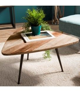 Table basse triangle arrondi bois de teck massif et métal SULA