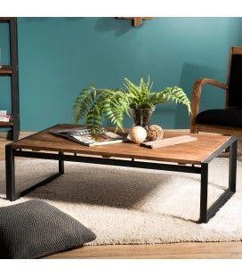 Table basse rectangle plateau bois massif et pied métal SULA