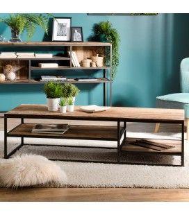 Table basse rectangle bois massif et métal 2 étagères SULA