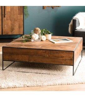 Table basse carrée bois massif et métal 100cm SULA