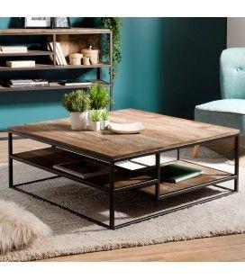 Table basse carrée avec tablettes bois Teck recyclé Acacia Mahogany et métal SULA