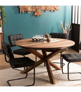 Table à manger ronde en bois massif 130cm pieds croisés Teck SULA