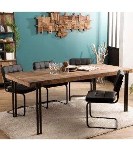 Table à manger en bois massif 200x90cm Teck pieds métal SULA
