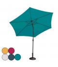 Parasol rond inclinable en acier avec manivelle 5 coloris