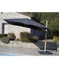 Grand parasol carré 3x3m avec 8 baleines en acier gris clair ou gris foncé