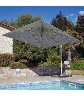 Grand parasol carré 3x3m effet bois toile gris clair ou gris foncé