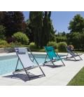 Lot de 2 bains de soleil transats réglables 4 coloris - BELVIDE