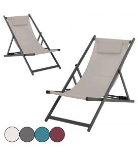 Chaise chilienne fauteuil de jardin 4 coloris ZONZA - Lot de 2