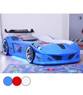 Lit voiture de course bleu rouge ou blanc 90x190cm Speedy