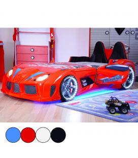 Lit voiture de sport N3 enfant bleu rouge noire ou blanc 90x190cm