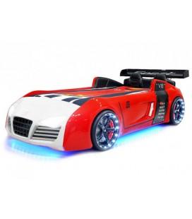 Lit voiture rouge et blanc sportive V8 à LED 90x190cm
