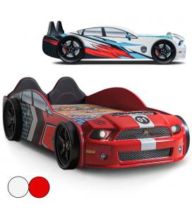 Lit voiture de course Mustang Road 66 rouge ou blanc 90x190cm