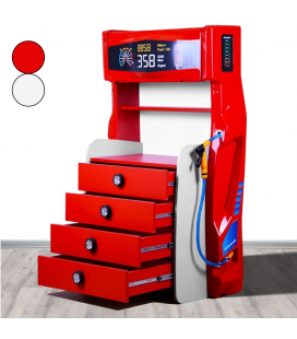 Commode enfant style voiture rouge ou blanc 4 tiroirs pompe a essence