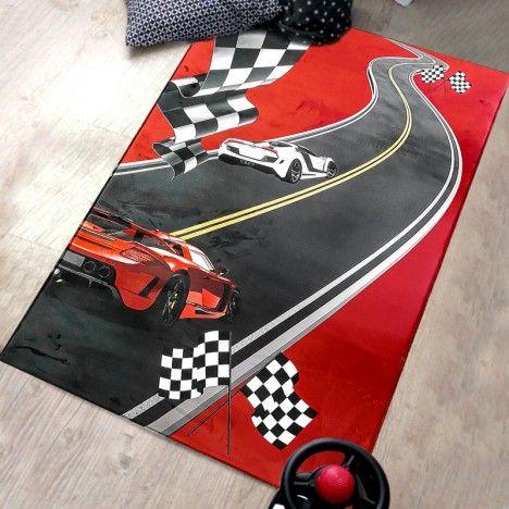 Tapis de chambre enfant voiture de course rouge 150x80cm