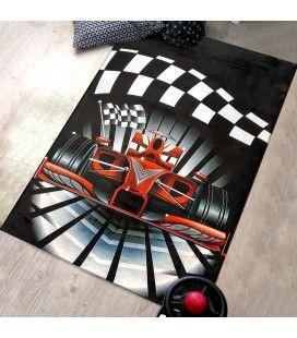 Tapis de chambre enfant voiture Formule 1 noir et rouge 150x80cm