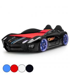 Lit voiture de sport enfant avec effets de lumière et son 90x190cm
