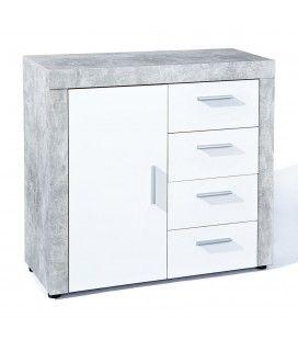 Meuble de salon gris béton et blanc 1 porte 4 tiroirs 95cm Cambridge